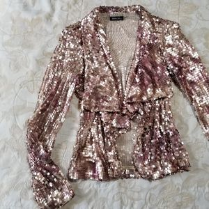 Rose-Gold open-front Sequin Blazer/Jacket sz S